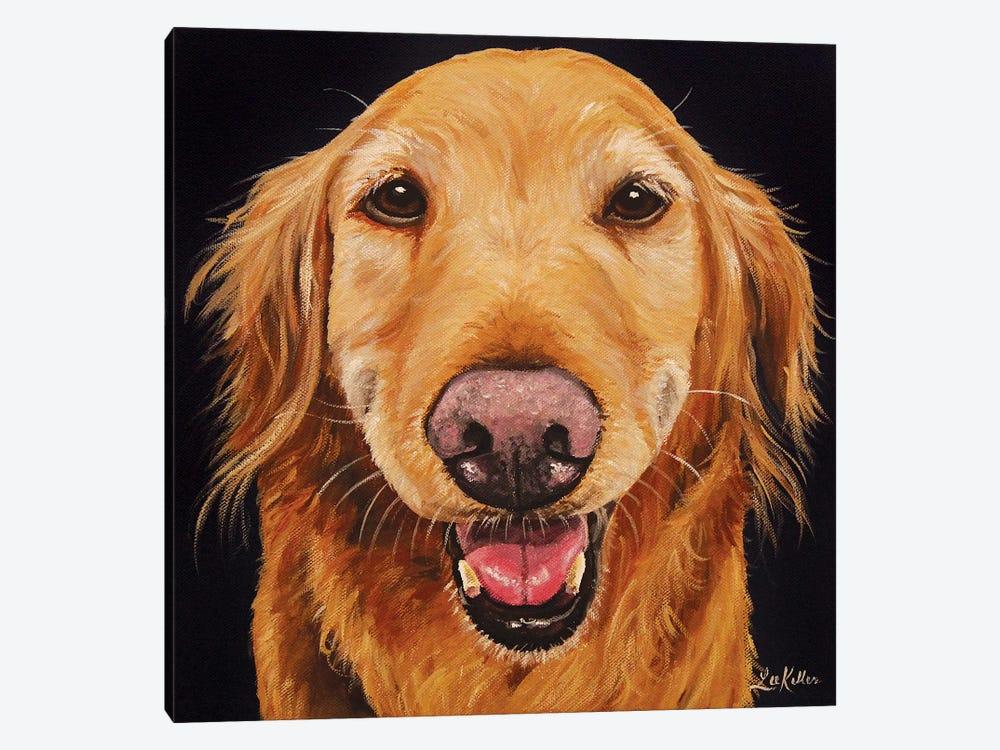Smiling Golden Retriever On Black by Hippie Hound Studios 1-piece Art Print