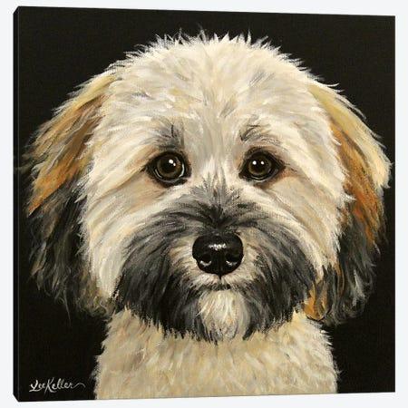 Wheaten Terrier On Black 3-Piece Canvas #HHS554} by Hippie Hound Studios Canvas Print