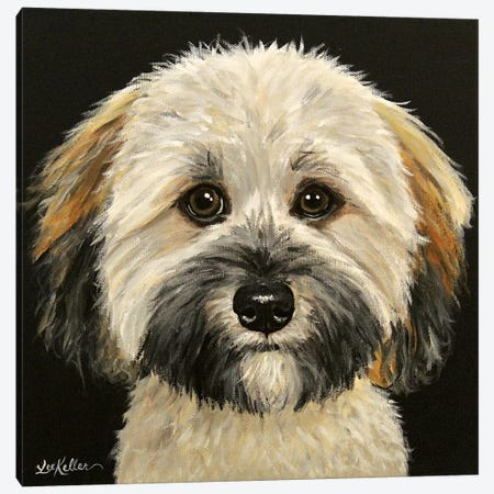 Wheaten Terrier On Black Canvas Print #HHS554} by Hippie Hound Studios Canvas Print