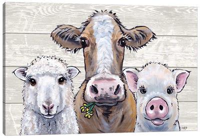 Farmhouse Animals Trio Canvas Art Print