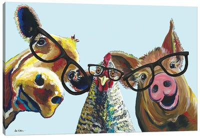 Triple The Fun, Farmhouse Animals Trio Canvas Art Print