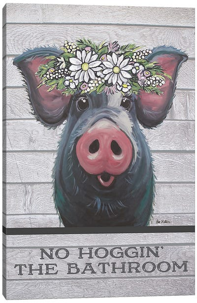 Pig Bathroom Art, Hogging The Bathroom Canvas Art Print