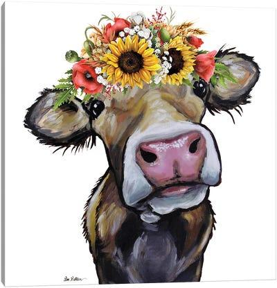 Cow Sunflower Art, Hazel Canvas Art Print