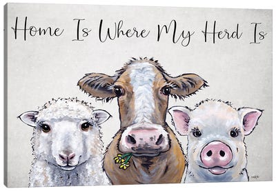 Farm Animal Sign Sheep, Cow, Pig, Home Is Where My Herd Is Canvas Art Print