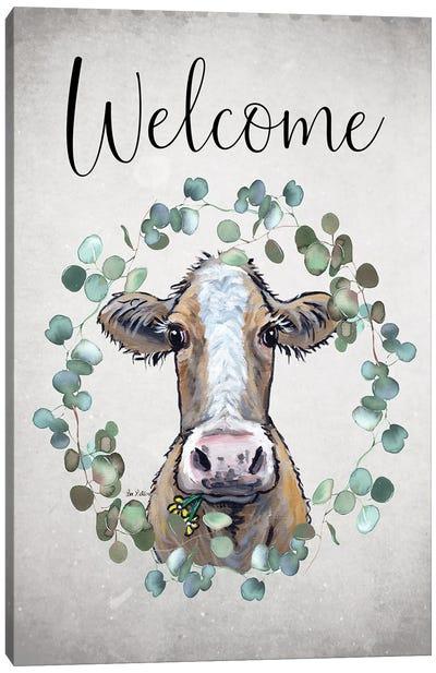 Cow Welcome Sign, Farmhouse Cow Art Canvas Art Print