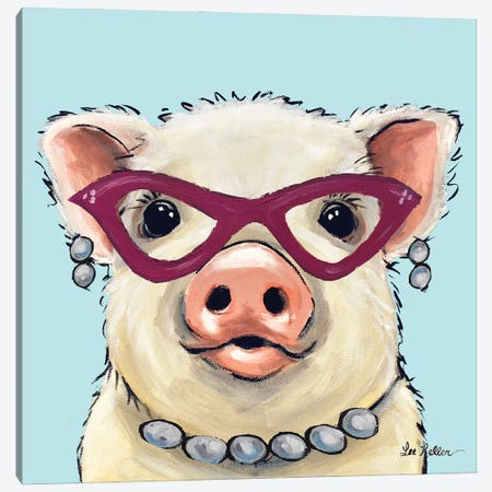 Pig With Pink Glasses, Cute Pig Art 'Paisley' Canvas Print #HHS573} by Hippie Hound Studios Canvas Wall Art