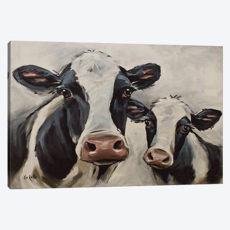 Farmhouse Cow Art, Mini-Me I Canvas Print #HHS574} by Hippie Hound Studios Canvas Print