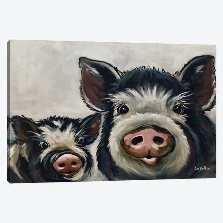 Farmhouse Pig Art, Mini Me II Canvas Print #HHS575} by Hippie Hound Studios Canvas Art Print