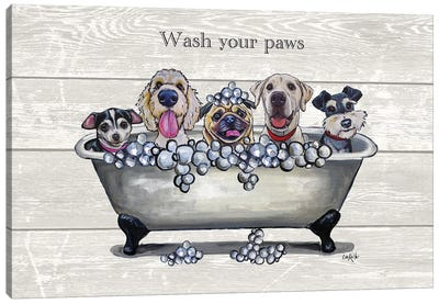 Tub With Dogs, Bathroom Dogs, Wash Your Paws Canvas Art Print