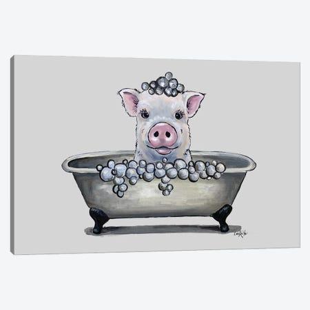 Pig In A Tub, Bathtub Pig Bathroom Art 'Delbert' Canvas Print #HHS578} by Hippie Hound Studios Canvas Artwork