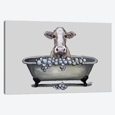 Cow In A Tub, Cow Bathroom Art 'maizy' Canvas Print #HHS579} by Hippie Hound Studios Canvas Wall Art