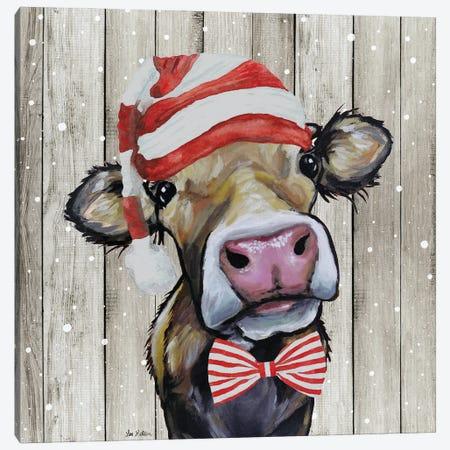 Farmhouse Christmas Cow 'Hazel', Farm Animal Christmas Canvas Print #HHS584} by Hippie Hound Studios Canvas Wall Art