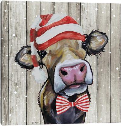 Farmhouse Christmas Cow 'Hazel', Farm Animal Christmas Canvas Art Print