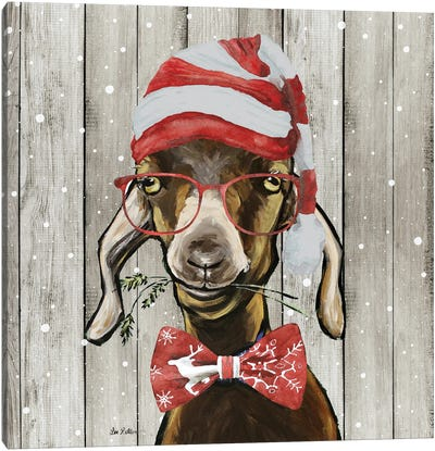 Farmhouse Christmas Goat 'Billy The Kid', Farm Animal Christmas Canvas Art Print