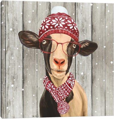 Farmhouse Christmas Goat 'Luna', Farm Animal Christmas Canvas Art Print