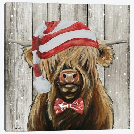 Farmhouse Christmas Highland 'Shamus', Farm Animal Christmas Canvas Print #HHS587} by Hippie Hound Studios Canvas Artwork