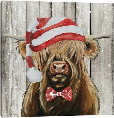 Farmhouse Christmas Highland 'Shamus', Farm Animal Christmas Canvas Art Print