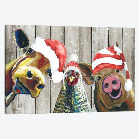 Barnyard Christmas, Funny Farm Animal Christmas Trio, Farmhouse Christmas Canvas Print #HHS588} by Hippie Hound Studios Art Print