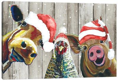 Barnyard Christmas, Funny Farm Animal Christmas Trio, Farmhouse Christmas Canvas Art Print