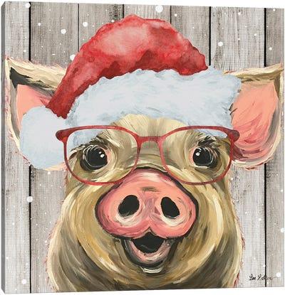 Farmhouse Christmas Pig 'Posey' Canvas Art Print