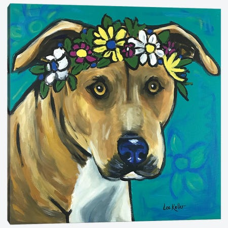 Pit Bull With Flowers 3-Piece Canvas #HHS58} by Hippie Hound Studios Canvas Print