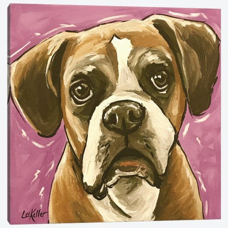 Boxer On Purple Canvas Print #HHS5} by Hippie Hound Studios Art Print