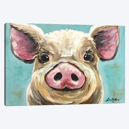Rosey The Pig On Turquoise Canvas Print #HHS63} by Hippie Hound Studios Canvas Wall Art