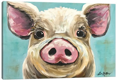 Rosey The Pig On Turquoise Canvas Art Print