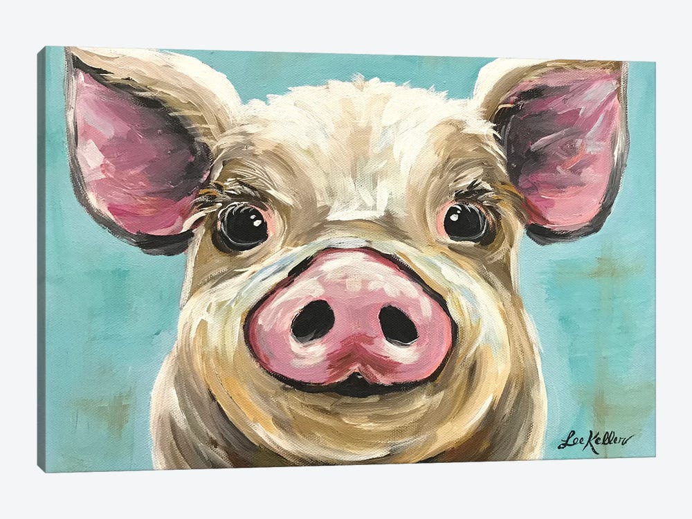 Rosey The Pig On Turquoise by Hippie Hound Studios 1-piece Canvas Art Print