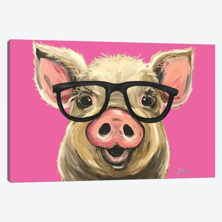 Rosey The Pig With Glasses Canvas Print #HHS64} by Hippie Hound Studios Canvas Art Print