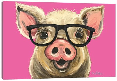 Rosey The Pig With Glasses Canvas Art Print