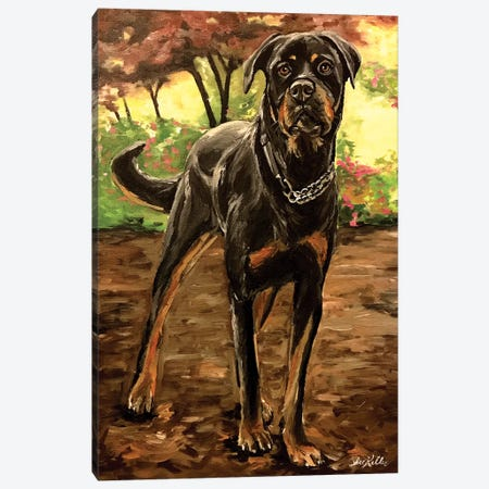 Rottweiler Canvas Print #HHS65} by Hippie Hound Studios Art Print
