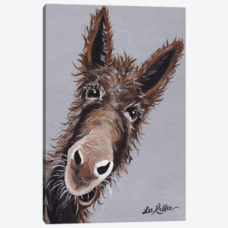 Rufus The Donkey On Gray Canvas Print #HHS68} by Hippie Hound Studios Canvas Artwork