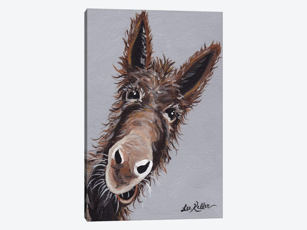 Rufus The Donkey On Gray by Hippie Hound Studios 1-piece Canvas Art