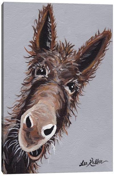 Rufus The Donkey On Gray Canvas Art Print