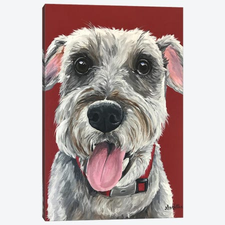 Schnauzer On Red Canvas Print #HHS71} by Hippie Hound Studios Canvas Print