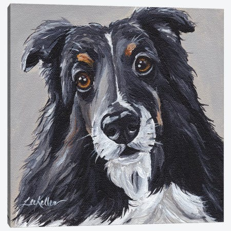 Sheltie On Neutral Canvas Print #HHS73} by Hippie Hound Studios Canvas Print