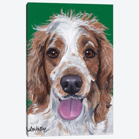 Spaniel On Green Canvas Print #HHS76} by Hippie Hound Studios Canvas Wall Art