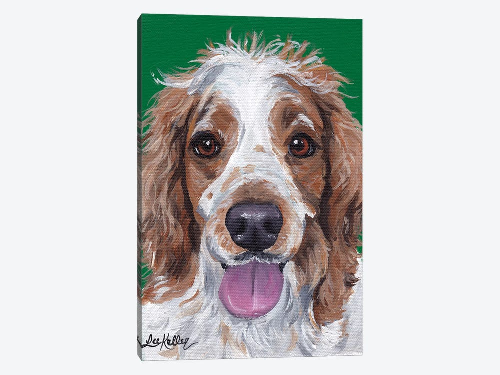 Spaniel On Green by Hippie Hound Studios 1-piece Canvas Print