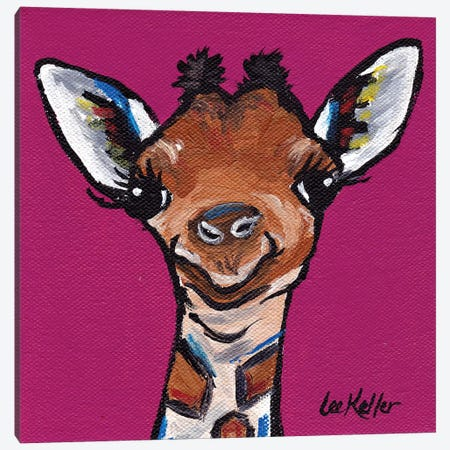 Tiny The Giraffe Canvas Print #HHS80} by Hippie Hound Studios Canvas Art