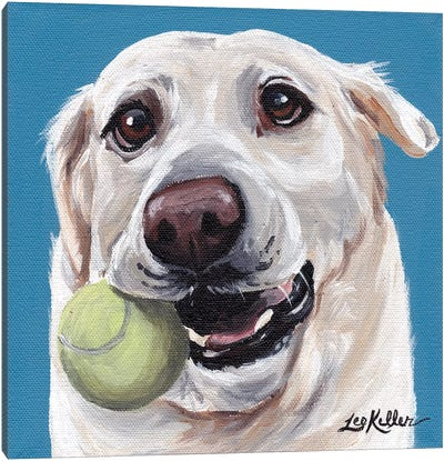 Yellow Lab With Ball Canvas Art Print