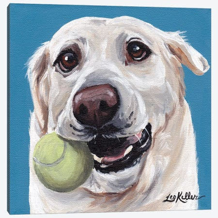 Yellow Lab With Ball Canvas Print #HHS88} by Hippie Hound Studios Canvas Artwork