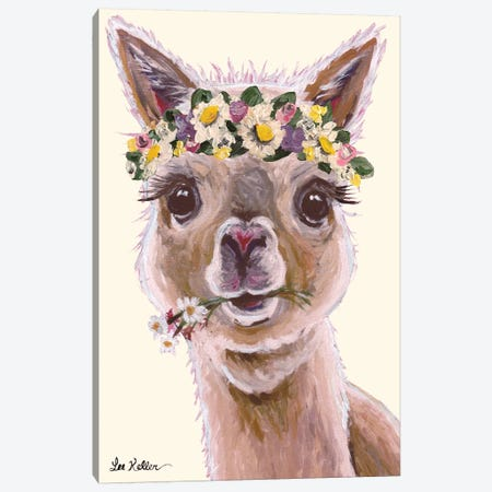 Alpaca With Flower Crown On Blush Canvas Print #HHS91} by Hippie Hound Studios Canvas Print