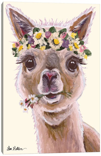 Alpaca With Flower Crown On Blush Canvas Art Print