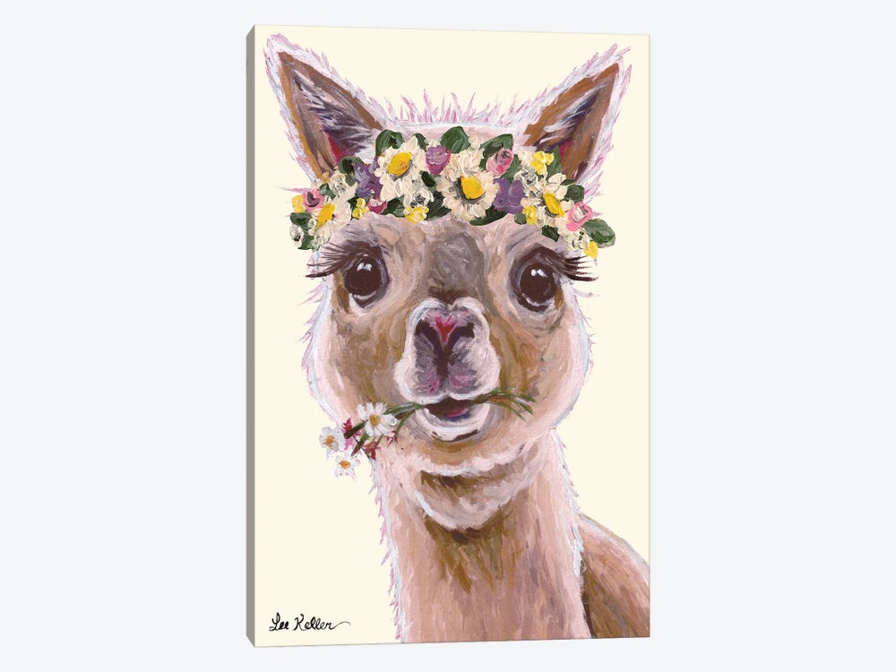Alpaca With Flower Crown On Blush by Hippie Hound Studios 1-piece Canvas Wall Art