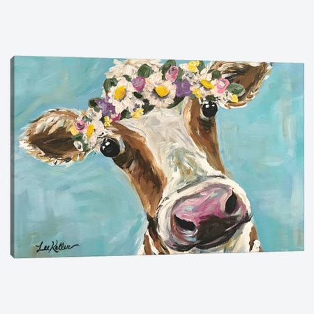 Cow With Flower Crown On Turquoise Canvas Print #HHS92} by Hippie Hound Studios Canvas Art Print