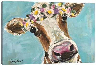 Cow With Flower Crown On Turquoise Canvas Art Print
