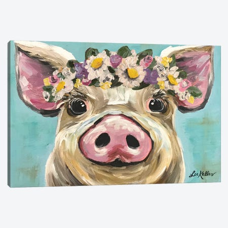 Pig With Flower Crown On Turquoise Canvas Print #HHS93} by Hippie Hound Studios Canvas Print