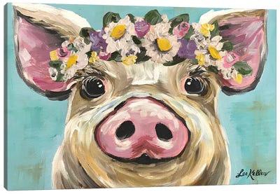 Pig With Flower Crown On Turquoise Canvas Art Print