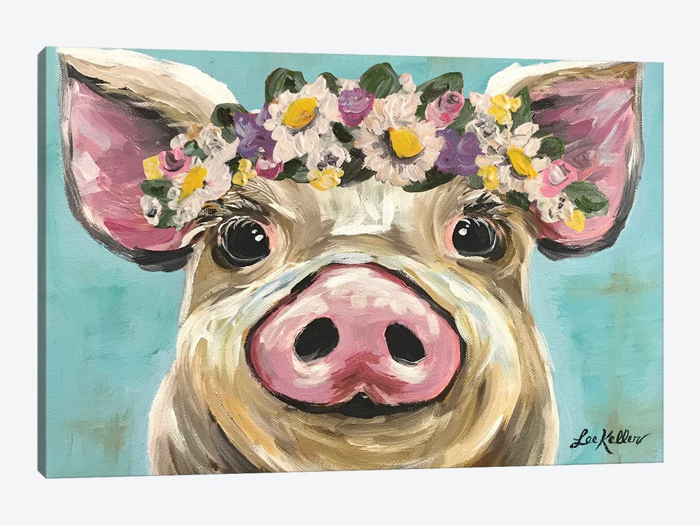 Pig With Flower Crown On Turquoise by Hippie Hound Studios 1-piece Canvas Wall Art